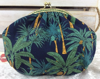 Palm Trees small frame handbag purse bag fabric clutch shoulder bag frame purse kiss clasp bag Handmade Palms
