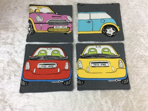 Fabric Coasters BMW Minis set of 4 mug mats Cars