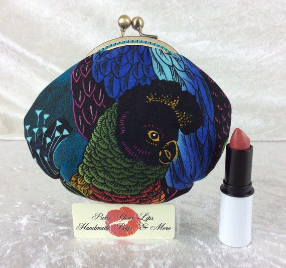 Coin purse wallet Parrots fabric kiss clasp frame wallet change pouch handmade hand stitched frame Alexander Henry Birds of a Feather