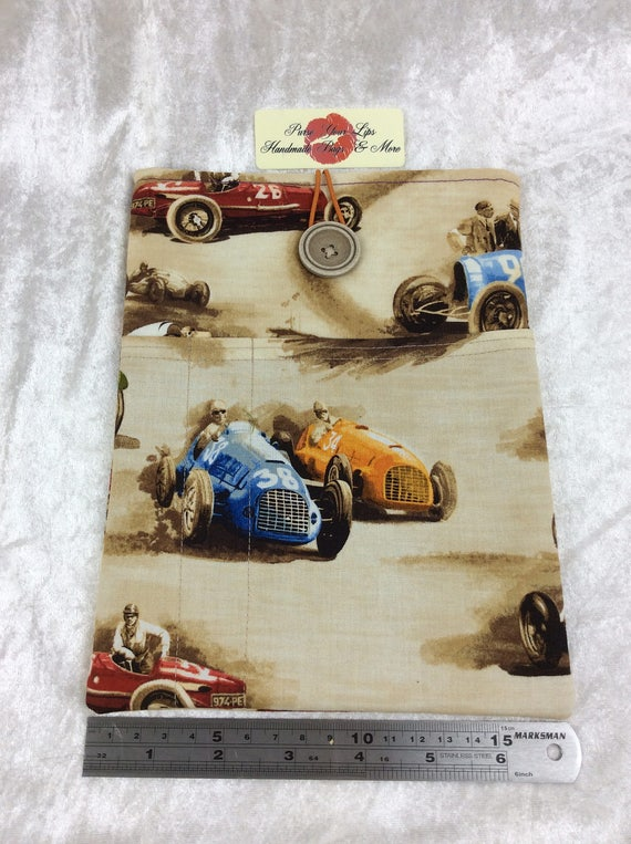 Tablet Case Cover Pouch iPad Kindle Medium Handmade Vintage Classic Cruisers Racing Cars