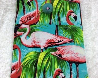 Handmade Tablet Case Cover Pouch iPad/Kindle SMALL Flamingos