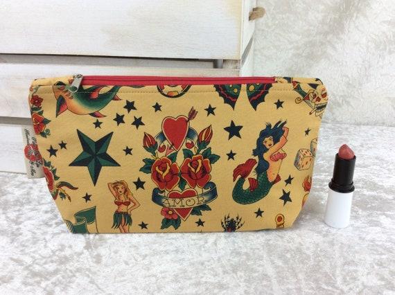 Zip case Tattoos zipper pouch purse pencil makeup bag fabric handmade Alexander Henry Tattoo Gothic