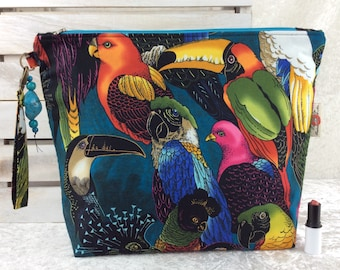 Handmade Giant Zipper Case Zip Pouch fabric Bag Purse Alexander Henry Birds of a Feather Teopical Birds Parrots and Toucans