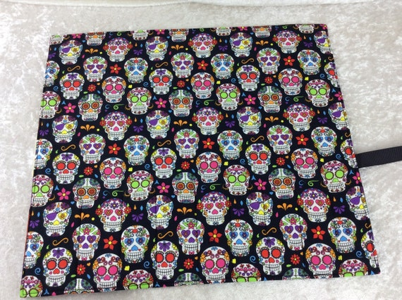 Mexican Skulls Makeup Pen Pencil Roll Crochet Knitting needles tool organiser Make up holder case wrap Day of the Dead
