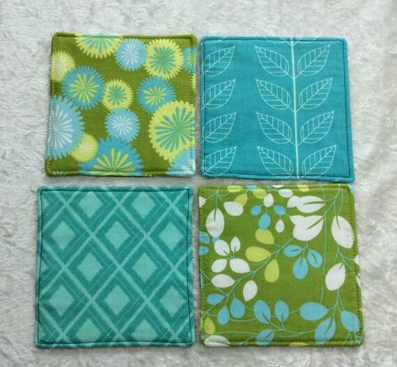 Fabric Coasters Green set of 4 mug mats