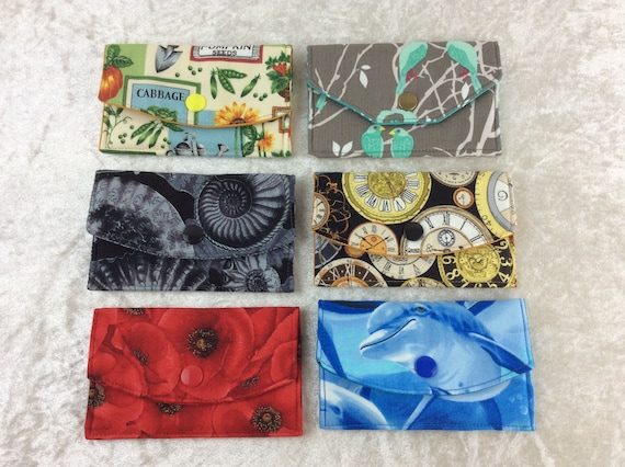 Card holder Purse Business Card case wallet fabric travel pass cover dolphins seed packets Birds