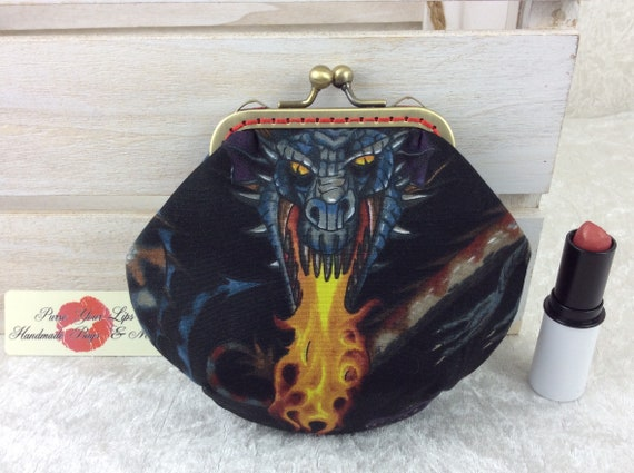 Coin purse wallet Gothic Dragons fabric kiss clasp frame wallet change pouch handmade frame Alexander Henry Tale of the Dragon