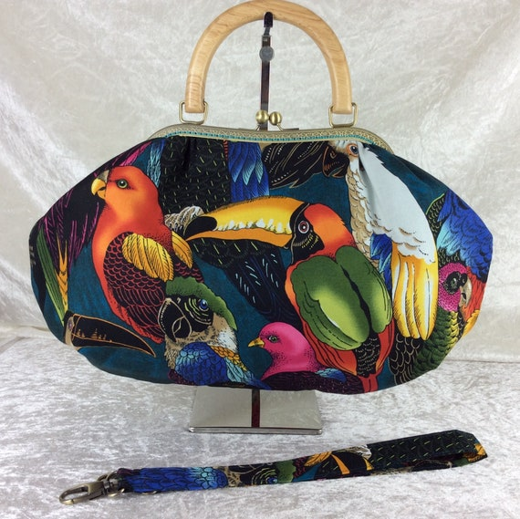 Frame handbag purse bag Toucans Parrots Tropical  shoulder kiss clasp fabric handmade wooden handle Alexander Henry Birds of a Feather
