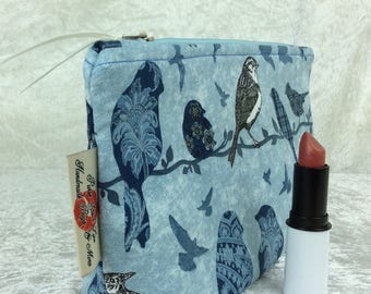 Handmade Zipper Case Zip Pouch fabric bag pencil case purse Blue Birds