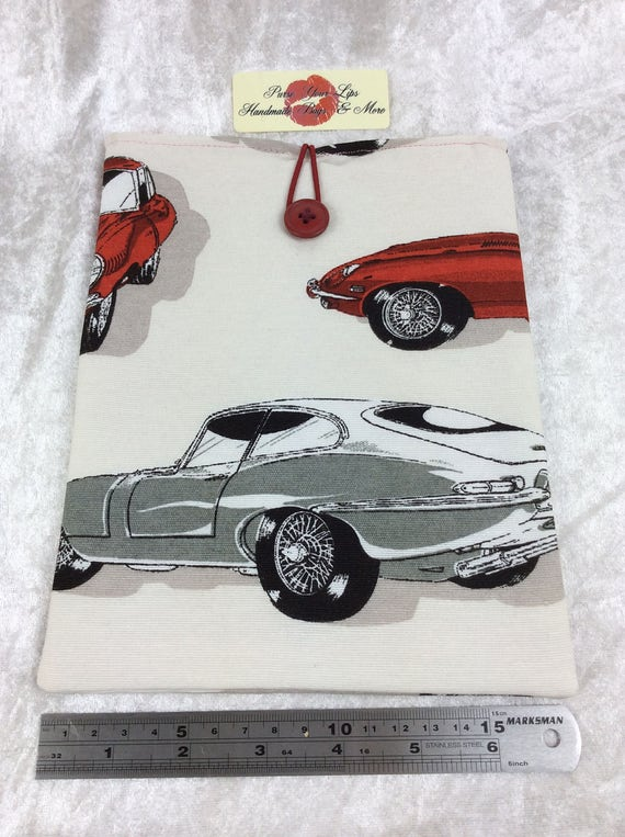 Tablet Case Cover Pouch iPad Kindle Medium Handmade E-Type Jaguars Classic Cars
