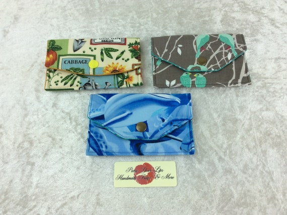 Card holder business card case wallet fabric travel pass cover dolphins seed packets Birds