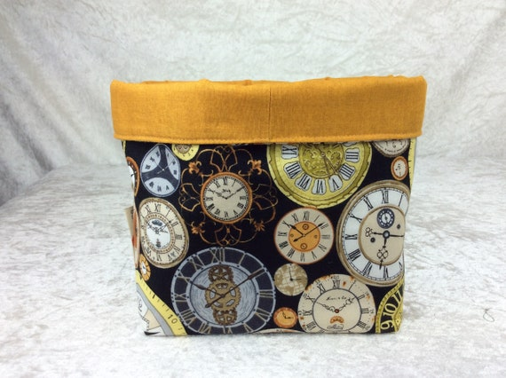 Basket storage bin box fabric handmade clocks steampunk