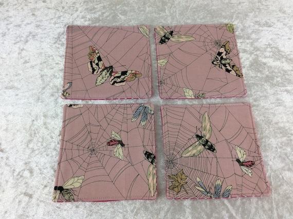 Fabric Coasters Moths in Web set of 4 mug mats Alexander Henry Ghastlie Web