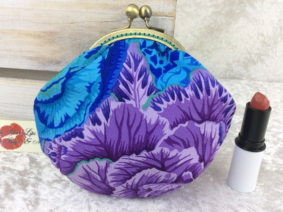 Coin purse wallet Cabbages fabric kiss clasp frame wallet change pouch handmade hand stitched frame Kaffe Fassett Philip Jacobs Brassica