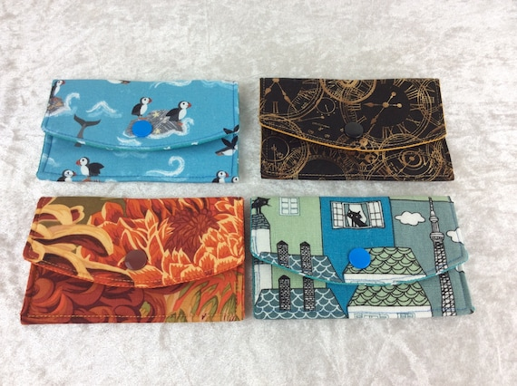 Card holder Purse Business Card case wallet fabric travel pass cover  Puffins Clocks Flowers Chrysanthemums Cats