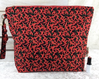Handmade Giant Zipper Case Zip Pouch fabric Bag Purse Chilli Peppers Chillis