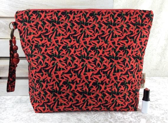 Zip case Chillis zipper pouch purse giant bag fabric handmade chilli peppers