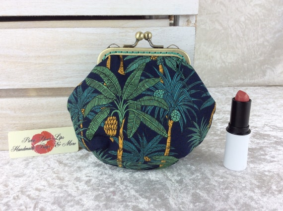 Coin purse wallet Palm Trees fabric kiss clasp frame wallet change pouch handmade hand stitched frame Palms