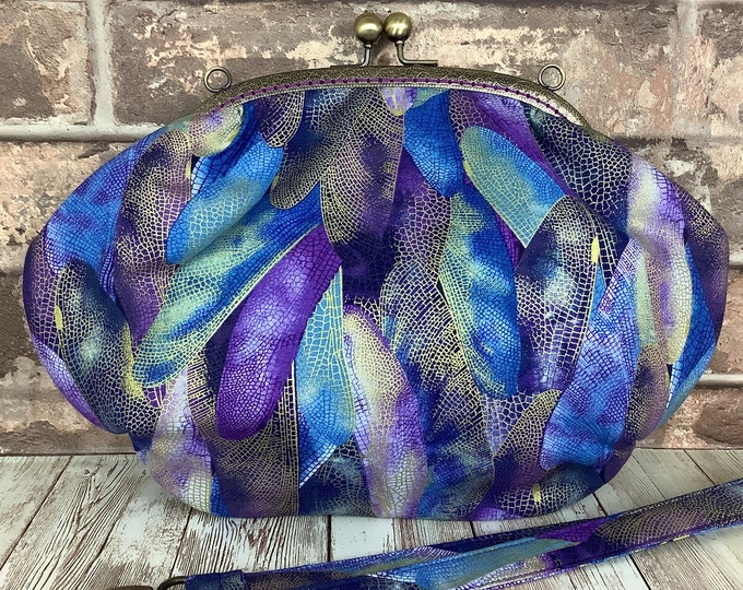 Featured listing image: Dragonfly Wings fabric frame clutch handbag, Kiss clasp, Kiss lock purse, Shoulder bag, Handmade by Purse Your Lips