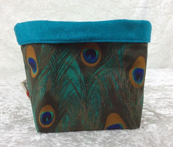 Basket storage bin box fabric handmade peacock feathers