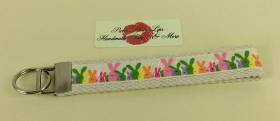 Bunny Rabbits Bunnies Key Fob Wristlet Key Ring Chain Wrist Strap Lanyard Wedding Favours