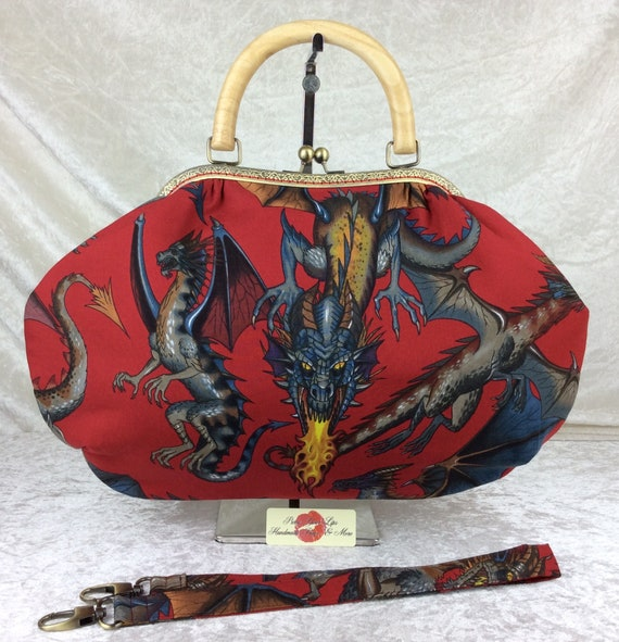 Frame handbag gothic dragons purse bag shoulder kiss clasp fabric wooden handle Alexander Henry Tale Of The Dragon