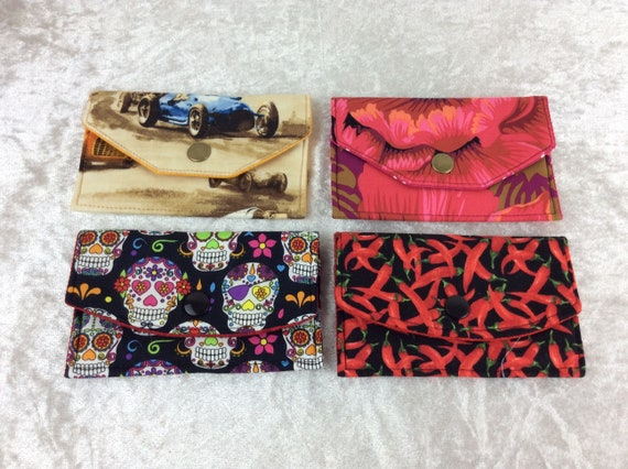 Card holder Purse Business Card case wallet fabric travel pass cover racing cars flowers skulls chillis
