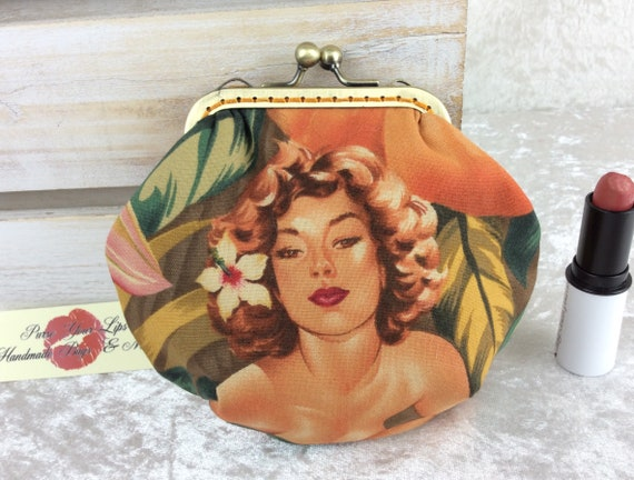 Coin purse wallet Burlesque Ladies fabric kiss clasp frame wallet change pouch handmade hand frame Alexander Henry Mirage Pin Up