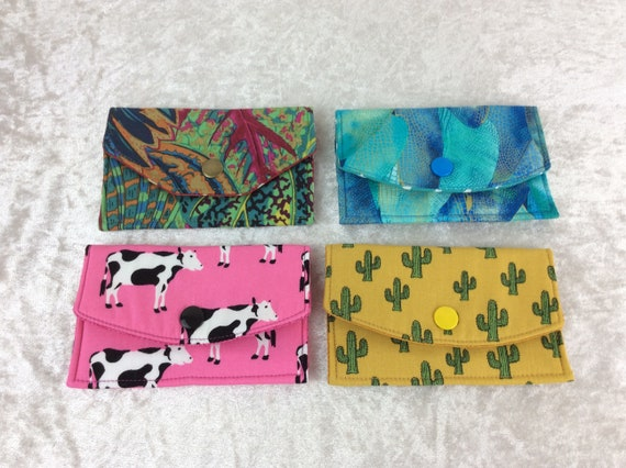 Card holder Purse Business Card case wallet fabric travel pass cover Coleus Leaves Dragonfly Wings Cows Cacti Cactus