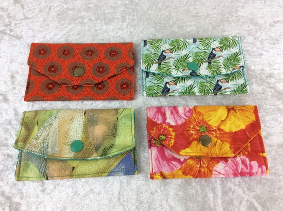Card holder Purse Business Card case wallet fabric travel pass cover Shwe Shwe Toucans dragonfly Wings Flowers