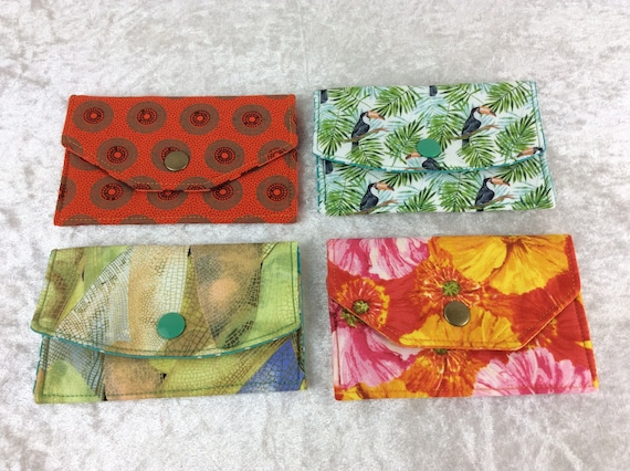 Card holder business card case wallet fabric travel pass cover Shwe Shwe Toucans dragonfly Wings Flowers