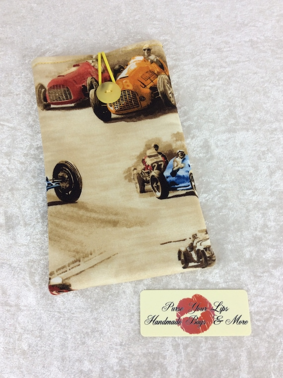 Mobile Cell Phone Glasses Sunglasses Case Cover Pouch Handmade Vintage Classic Cruisers Racing Cars