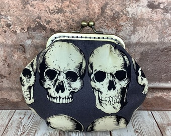 Gothic Rad Skulls Frame coin purse, Kiss clasp change pouch, Kiss lock frame wallet, Alexander Henry, Handmade