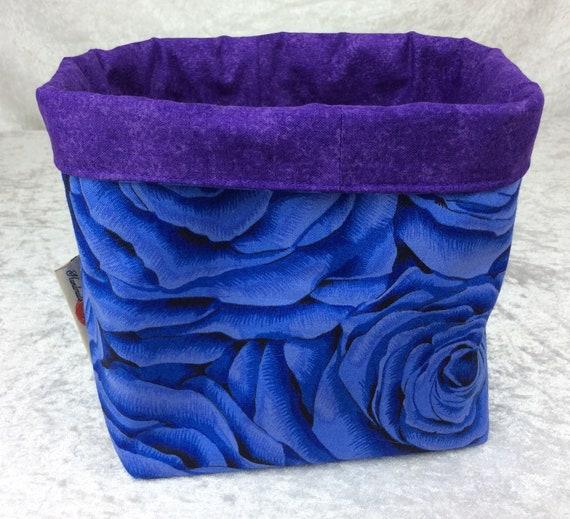 Basket storage bin box fabric handmade flowers blue roses