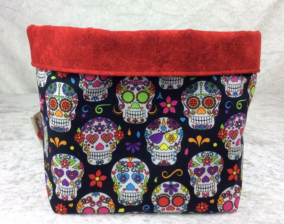 Basket storage bin box fabric handmade Mexican skulls day of the dead gothic