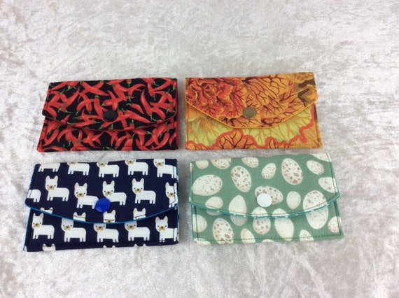 Card holderPurse Business Card case wallet fabric travel pass cover  chillis cabbages dogs eggs