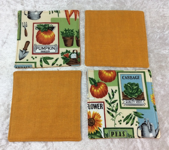 Fabric Coasters Seed Packets set of 4 mug mats flowers vegetables gardening