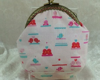 Baby birds coin purse wallet fabric kiss clasp frame wallet change pouch handmade