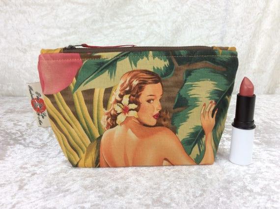 Zip case Burlesque Ladies zipper pouch purse pencil makeup bag fabric handmade Alexander Henry Pin Up Mirage