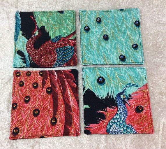 Fabric Coasters Peacocks set of 4 mug mats Alexander Henry Kujaku Peacocks