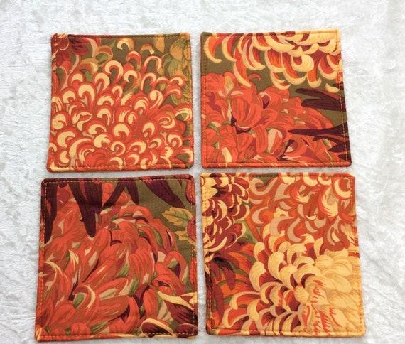 Fabric Coasters Flowers set of 4 mug mats Japanese Chrysanthemums Kaffe Fassett Philip Jacobs