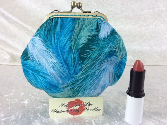 Coin purse wallet Feathers fabric kiss clasp frame wallet change pouch handmade hand stitched frame