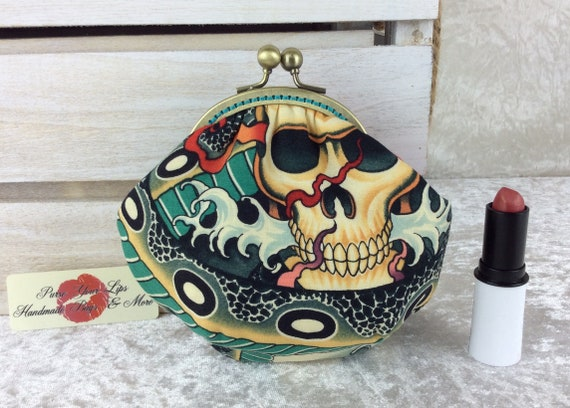 Gothic Skulls coin purse wallet fabric kiss clasp frame wallet change pouch handmade Alexander Henry Zen Charmer hand stitched frame