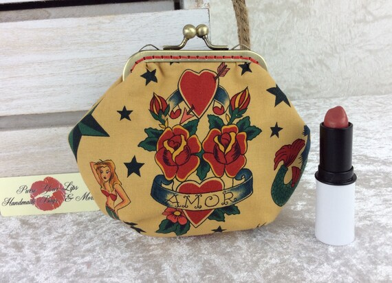 Gothic Tattoos coin purse wallet fabric kiss clasp frame wallet change pouch Alexander Henry Tattoo hand stitched frame
