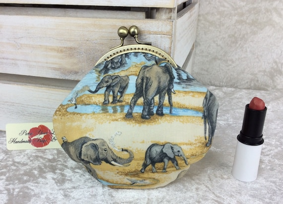 Coin purse wallet Elephants  fabric kiss clasp frame wallet change pouch handmade hand stitched frame Safari Elephants