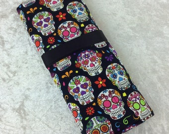 Handmade Makeup Pen Pencil Roll Crochet Knitting needles tool holder case Gothic Candy Skulls Day Of The Dead
