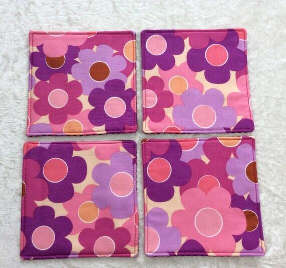 Fabric Coasters Flowers set of 4 mug mats