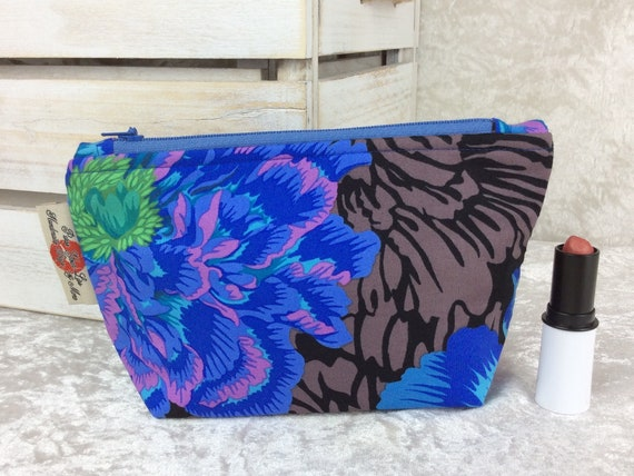 Zip case Flowers zipper pouch purse pencil makeup bag fabric handmade Brocade Peony Kaffe Fassett Philip Jacobs
