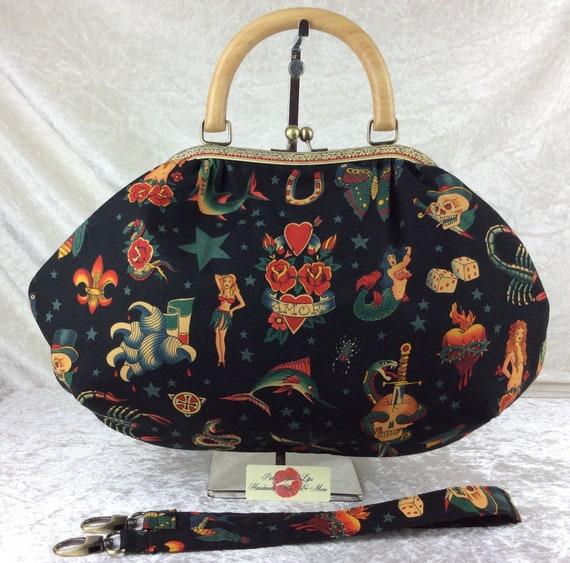Frame handbag purse bag Tattoos shoulder kiss clasp fabric handmade wooden handle Alexander Henry Tattoo