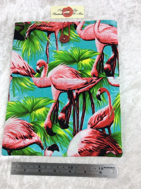 Tablet Case Flamingos Cover Pouch iPad Large Handmade Tropical Birds